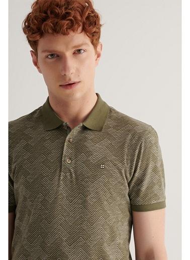 Avva Erkek Polo Yaka Jakarlı T-shirt A11Y1116 Haki
